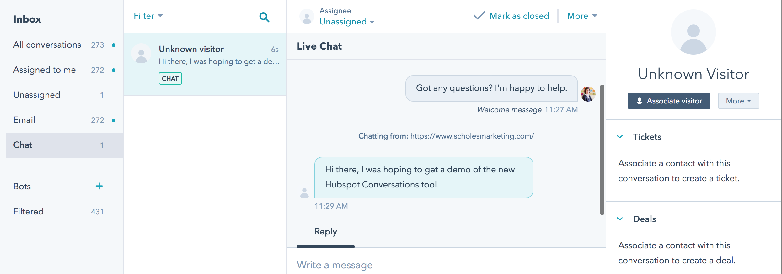 HubSpot Conversations inbox offers everything in one spot