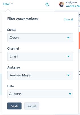 HubSpot Conversations filters conversations to keep teams organized