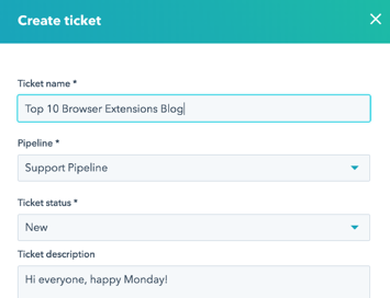 Create support tickets from the HubSpot contacts window