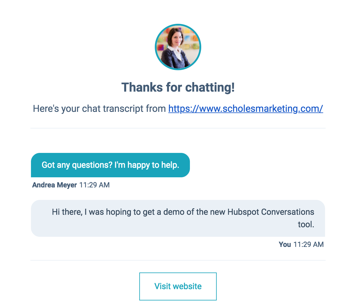 Chat summary offered by HubSpot Conversations